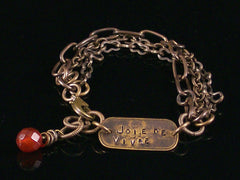 Multi-strand Antiqued Chain with Hand-stamped Dogtag Bracelet (Web-211)