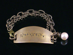 Multi-strand Antiqued Chain with Hand-stamped ID Bracelet (Web-213)