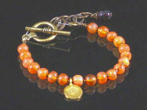 Single-strand Faceted Carnelian with Charm Toggle Bracelet (Web-217)