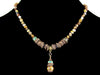 Wood agate choker w/ pearl and turquoise crystal drop (Web-223)