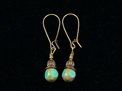 Antiqued medium earrings w/ Turquoise crystal (Web-226)