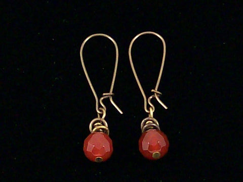 Antiqued medium earrings w/ Faceted Carnelian (Web-228)