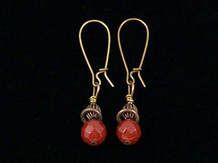 Antiqued medium earrings w/ faceted Carnelian (Web-229)
