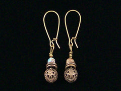 Antiqued medium earrings w/mixed Jasper and filigree bead (Web-231)