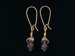 Antiqued medium earrings w/ Amethyst crystal and melon bead (Web-232)