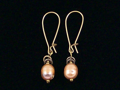 Antiqued medium earrings w/ Pearl (Web-233)