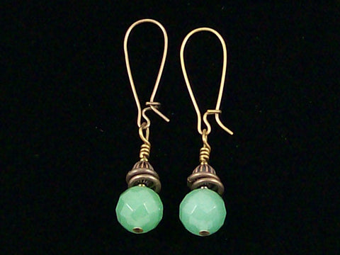 Antiqued medium earrings w/ Green aventurine (Web-234)