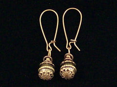 Antiqued medium earrings w/ Pewter bead and jumprings (Web-235)