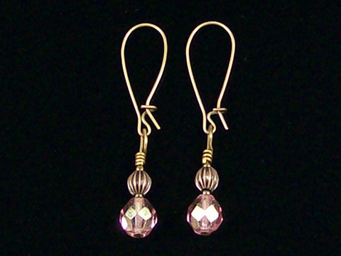 Antiqued medium earrings w/ antiqued Rose crystal and melon bead (Web-236)