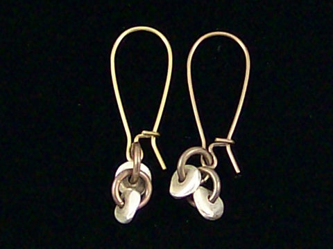 Antiqued medium earrings w/ Silver tone brass heishe and jumprings (Web-237)