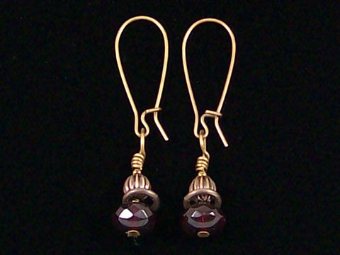 Antiqued medium earrings w/ Garnet crystal and melon bead (Web-242)