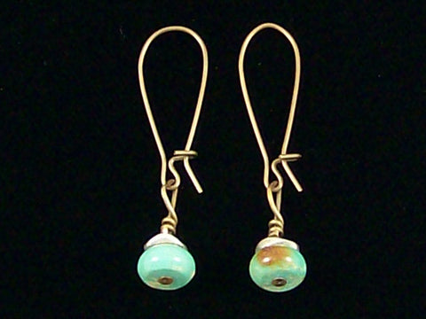 Antiqued medium earrings w/ Turquoise and silver tone heishe  (Web-243)