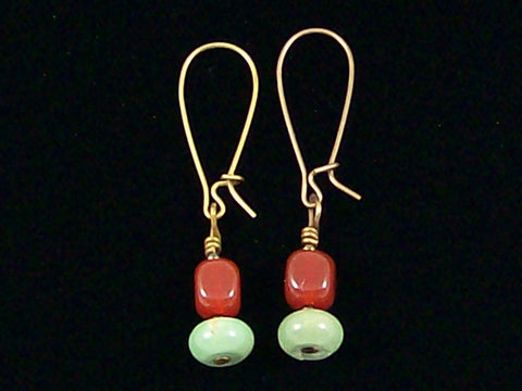 Antiqued medium earrings w/ Truquoise and carnelian (Web-244)