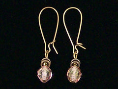 Antiqued medium earrings w/ Antiqued Rose crystal (Web-245)