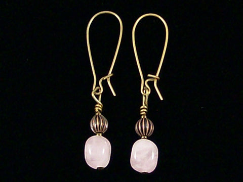 Antiqued medium earrings w/ Rose Quartz and melon bead (Web-247)