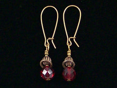 Antiqued medium earrings w/ Garnet crystal (Web-248)
