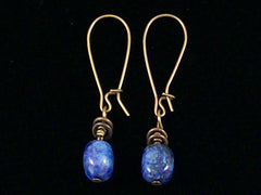 Antiqued medium earrings w/ Lapis (Web-249)