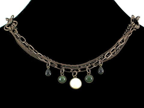Multi-strand Antiqued Chain with Cabachon Drops (Web-25)