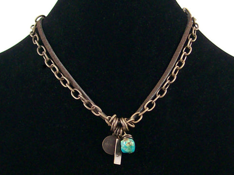 2-Strand Antiqued chain, leather and turquoise drop Choker  (Web-260)