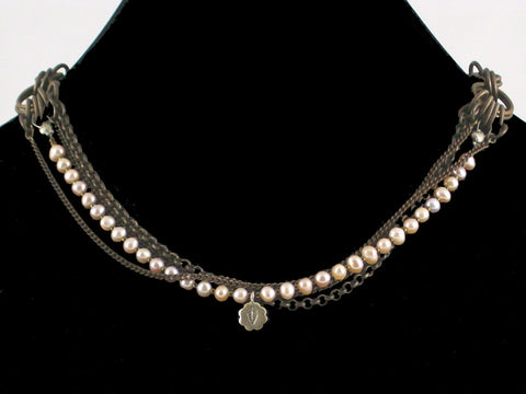 Multi-strand antiqued chain necklace with pearls & charm (Web-26)