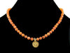 Carnelian pebble choker necklace with Ohm charm (Web-271)