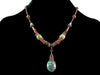 Antiqued multi stone and turquoise drop choker (Web-272)