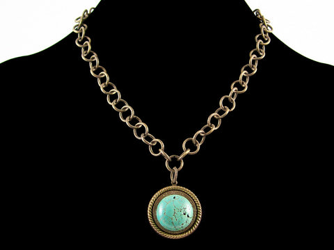 Antiqued round chain with brass disc-set turquoise (Web-273)