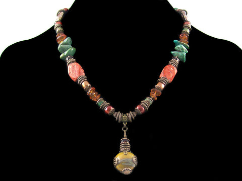 Single strand antiqued bead wrapped hand blown glass with stones and pearl (Web-275)