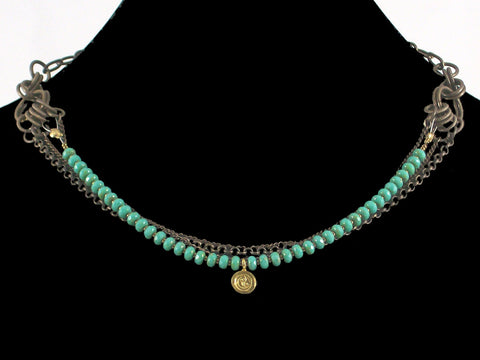 Multi-strand antiqued chain necklace with turquoise crystal & charm (Web-27)