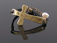 Antiqued hammered metal east/west cross with leather bracelet  (Web-281)
