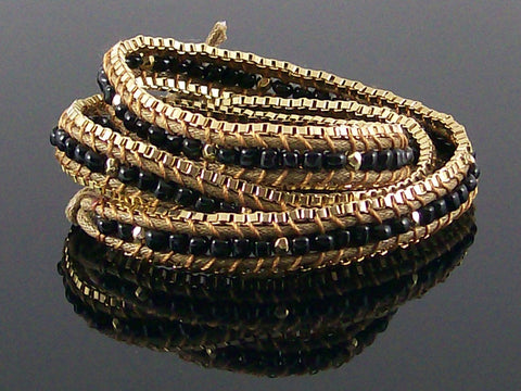 Wrap bracelet with cord and beads (Web-284)