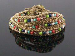 Wrap bracelet with cord and beads  (Web-286)