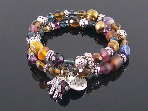 Crystal, stone and pearl coil metal charm bracelet (Web-287)