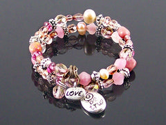 Crystal, stone and pearl coil metal charm bracelet (Web-288)