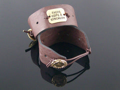 Simple leather cuff bracelet with stamping (Web-289)