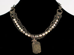 Multi-strand antiqued chain with pearls & hand-stamped dogtag (Web-28)