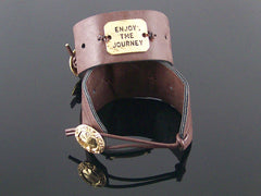 Simple leather cuff bracelet with stamping (Web-290)