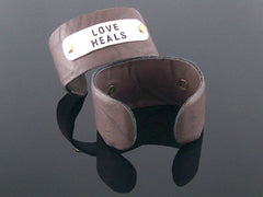 Simple faux leather cuff bracelet with stamping  (Web-292)