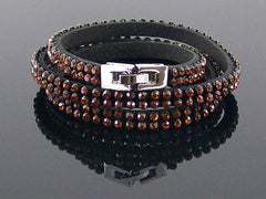 Brown crystal rhinestone studded wrap bracelet (Web-295)