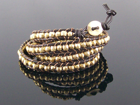Wrap bracelet with cord and beads (Web-296)