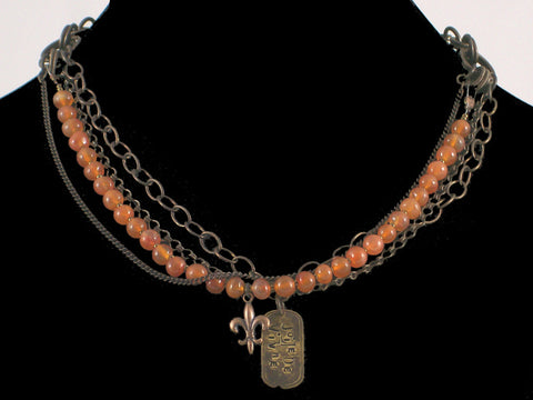 Multi-strand antiqued chain with carnelian & Hand-stamped dogtag (Web-29)