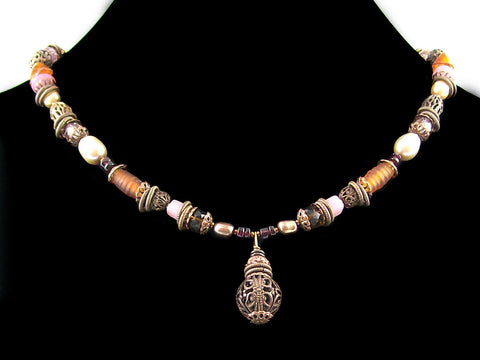Antiqued multi stone and pearl drop choker (Web-300)