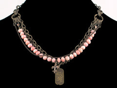 Multi-strand antiqued chain with rose coral glass & Hand-stamped dogtag (Web-30)