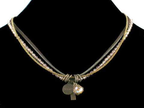 3-Strand Crystal Choker with Charms & Leather (Web-31)