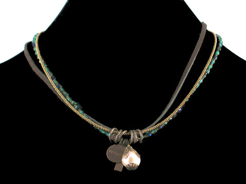 3-Strand Crystal Choker with Charms & Leather (Web-32)