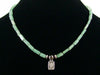 Green aventurine square choker necklace with Leaf charm (Web-46)