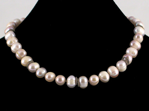 Extra-large Mauve Pearl Choker Necklace (Web-48)