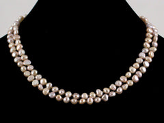 Small Mauve Pearl 2-Strand Choker Necklace (Web-49)