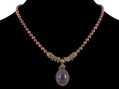 Amethyst cabochon choker necklace with cranberry pearl & turquoise (Web-51)