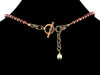 Amber cabochon choker necklace with cranberry pearl & turquoise (Web-52)